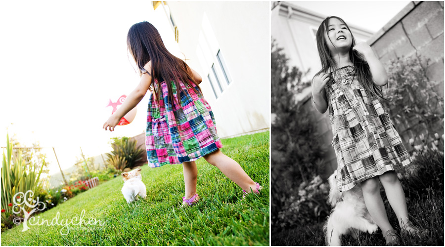fun photo session of a little girl and her new puppy