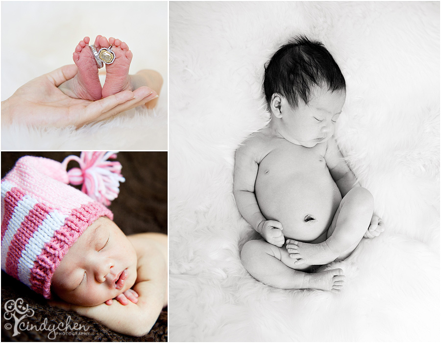 newborn baby rings on toes, newborn baby on bear skin rug, newborn baby in an elf hat