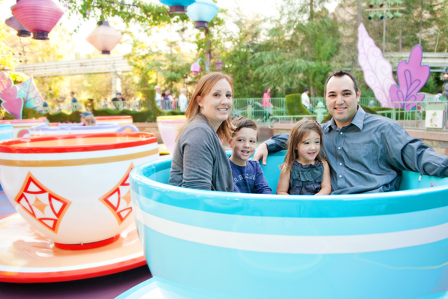family on the tea cups at disneyland in california
