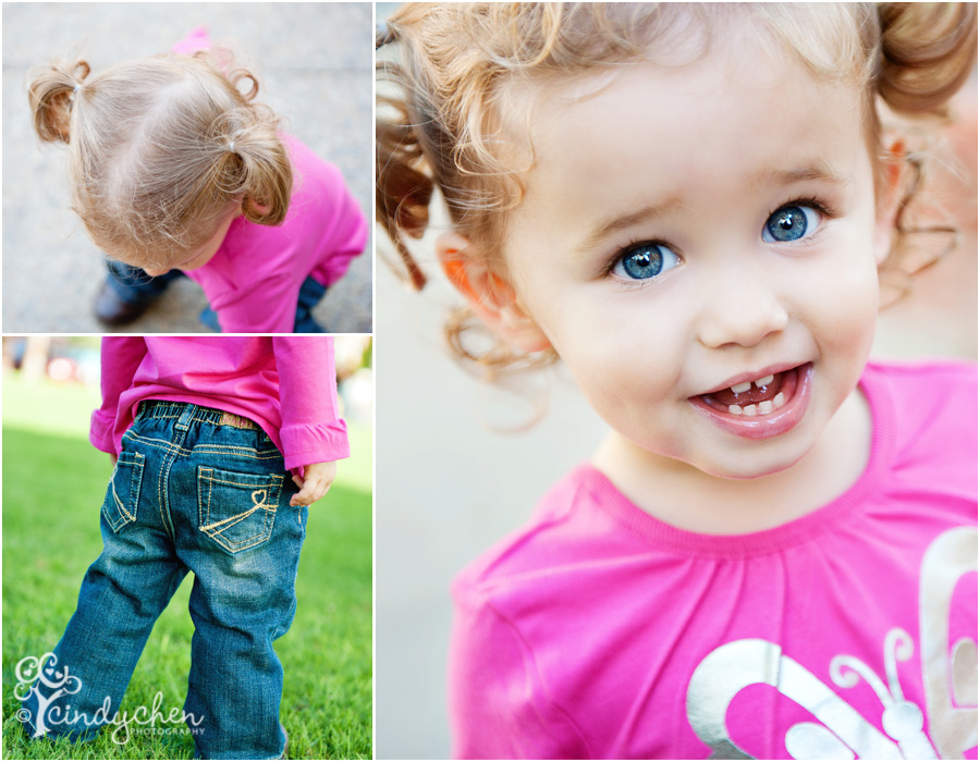 details of a sweet little girl in pink and pigtails
