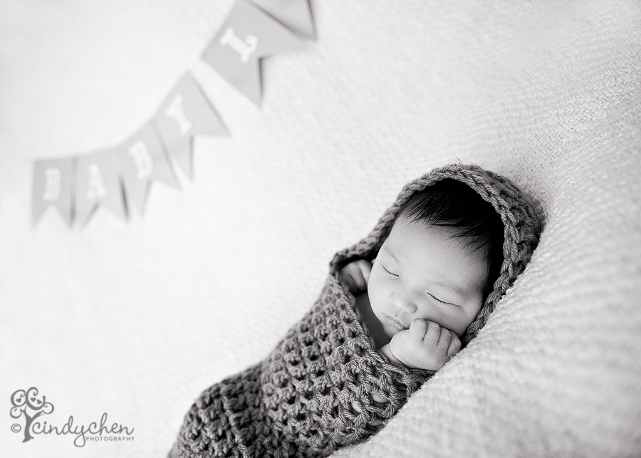 baby boy wrapped in knit cocoon with homemade bunting banner with his name