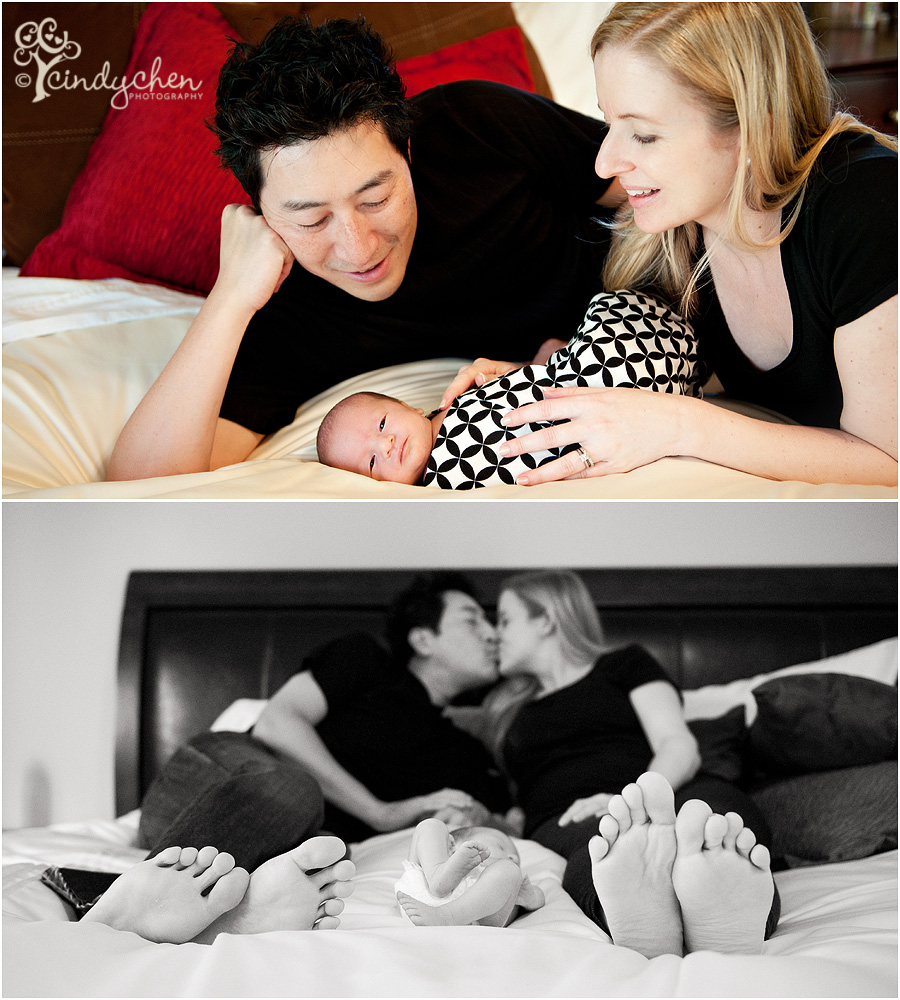 First family photos with newborn baby.  Taken at home in parent's bedroom.